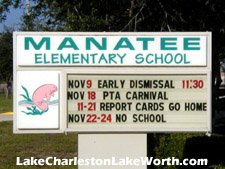The well-regarded public Manatee Elementary School is located within Lake Charleston.