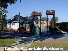 A playground is provided for the enjoyment of Lake Charleston's kids.